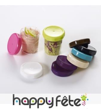 Mini pot de confiture avec couvercle coloré