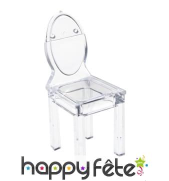 Marque-places en forme de chaise transparente