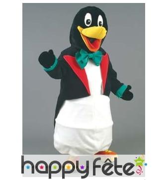 Mascotte pingouin en costume