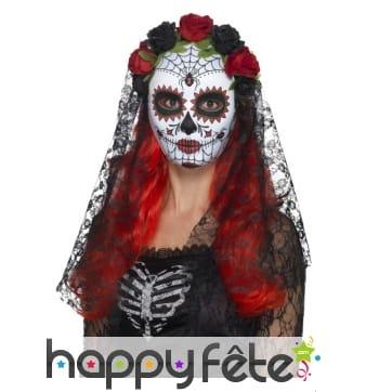 Masque pour femme du jour des morts avec voile