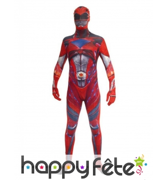Morphsuit Power Rangers rouge adulte