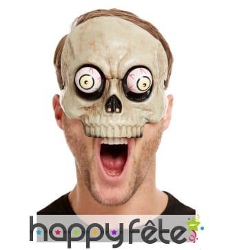 Masque squelette avec yeux mobiles, adulte