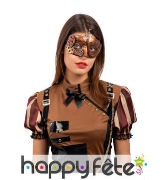 Masque steampunk avec rouages et clef pour adulte