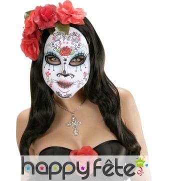 Masque souple Dia de lous muertos avec roses