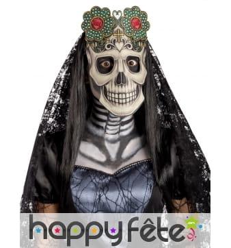 Masque squelette Dia de los muertos en tissu