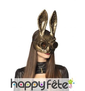 Masque Steampunk de lapin métallisé pour adulte