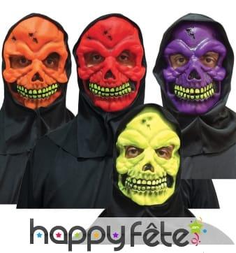 Masque skull fluo et cagoule