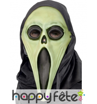 Masque scream phosphorescent avec cagoule
