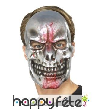 Masque squelette skull argenté éclaboussé de sang