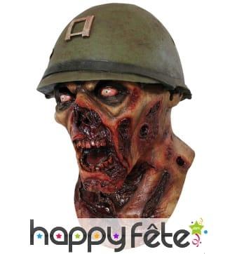 Masque soldat zombie en latex, intégral