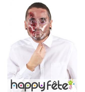 Masque transparent avec blessures en sang