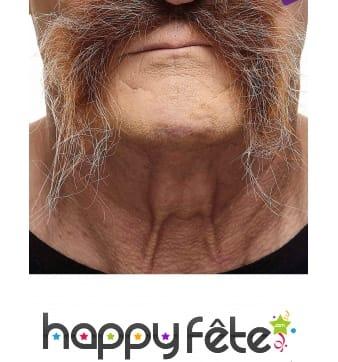 Moustache tombante châtain grisonnante adhésive
