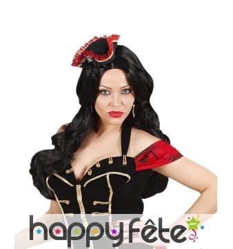 Mini tricorne de pirate noir et rouge pour femme
