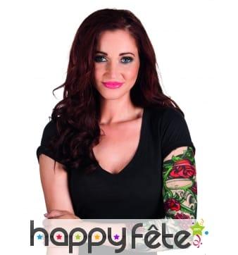 Manche tatouages imprimée de roses