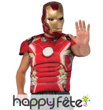 Masque T-shirt musclé de Iron man pour homme, luxe