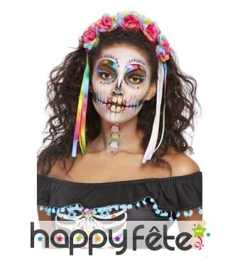 Maquillage visage Dia de los muertos multicolore