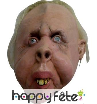 Masque visage déforme et dents jaunies