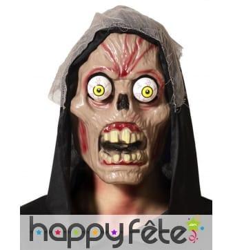 Masque zombie aux yeux exorbités
