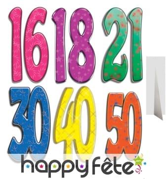 Nombre d'anniversaire géant en carton plat, 171cm