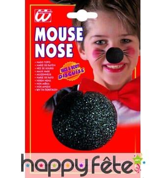 Nez de clown noir en mousse pour enfant