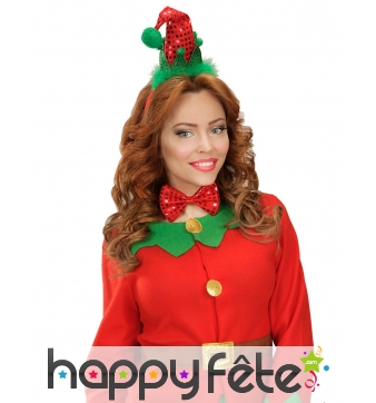 Noeud papillon et chapeau pointu pailleté de Noël