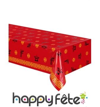 Nappe rouge motifs asiatiques,137 x 274 cm