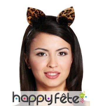 Oreilles de léopard sur serre tête pour femme