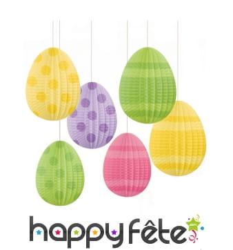 Oeufs de Pâques décoratifs à suspendre, 12cm