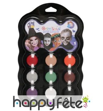 Palette 9 couleurs pour maquillage d'Halloween