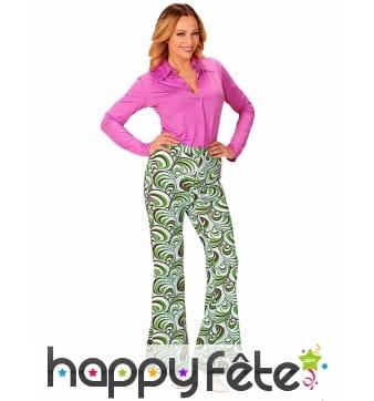 Pantalon années 70 motifs waves verts pour femme