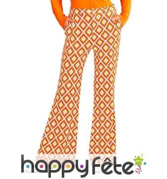 Pantalon années 70 orange motifs losanges, femme