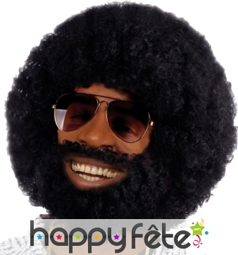 Perruque afro avec barbe et moustaches