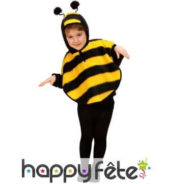 Poncho abeille avec capuche, pour enfant