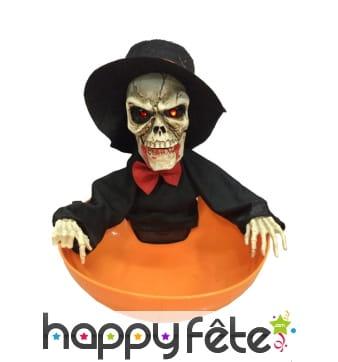 Panier à bonbons halloween, squelette lumineux