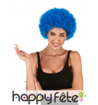 Perruque afro bleue unie