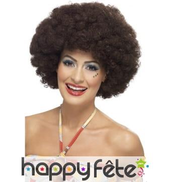 Perruque afro bouclée des années 70, brune