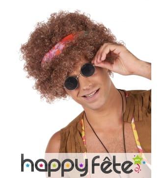 Perruque afro châtains avec foulard fleuri