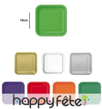 Petites assiettes carrées en carton de 17cm