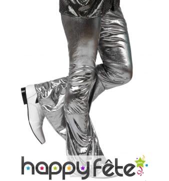 Pantalon argenté holographique pour homme