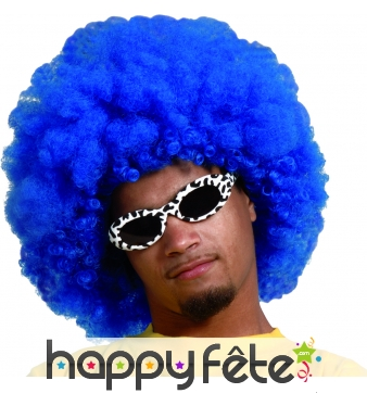 Perruque bleue afro