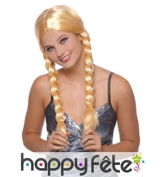 Perruque blonde avec deux tresses