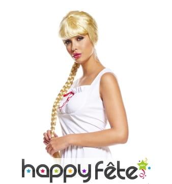 Perruque blonde avec longue tresse pour adulte