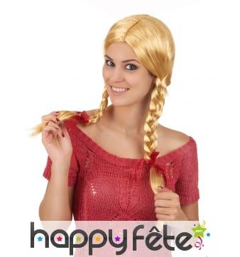 Perruque blonde avec tresses style écolière