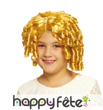 Perruque blonde boucles anglaises pour fillette