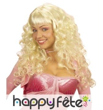 Perruque bouclée blonde avec frange droite