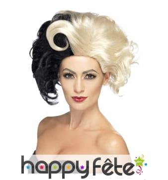 Perruque Bi colore blonde et noire pour femme