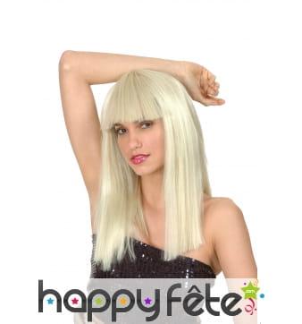 Perruque blonde coupe droite avec frange