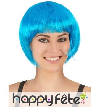 Perruque bob courte bleu aqua