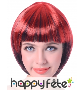 Perruque bob courte rouge mèches noires