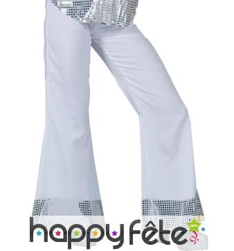 Pantalon blanc disco bords argenté, pour femme
